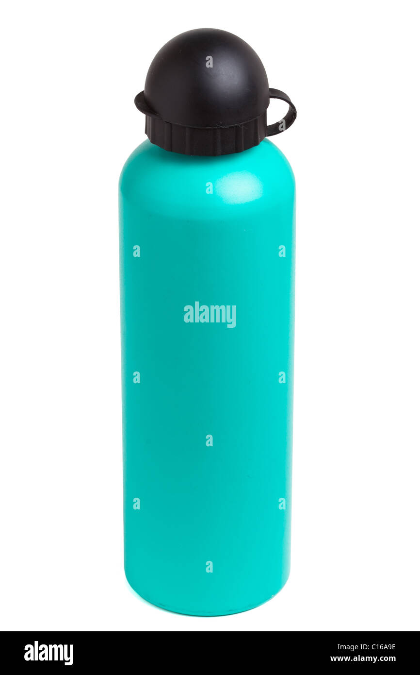 Green metal camping water bottle isolated on white. - Stock Image