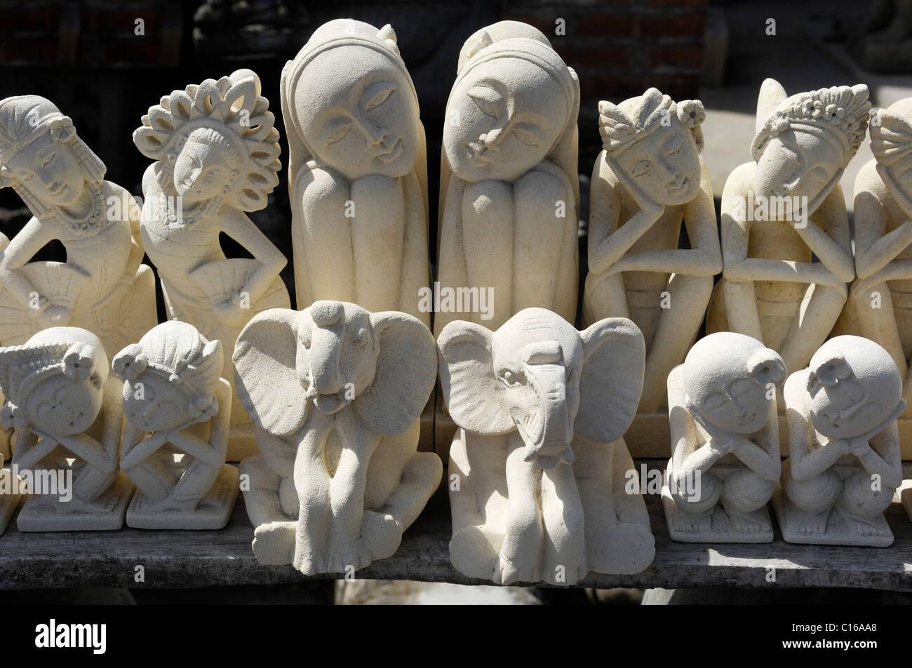 Stonemason's off-the-shelf articles near Ubud, Bali, Indonesia - Stock Image