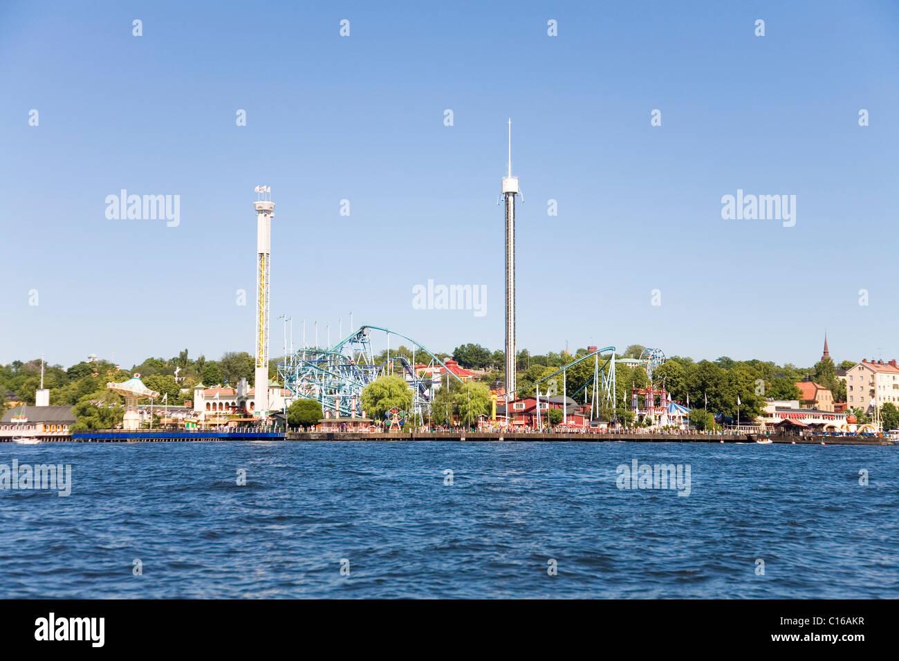 View towards the amusement park Groena Lunds Tivoli, Djurgården, Stockholm, Sweden, Scandinavia, Europe - Stock Image