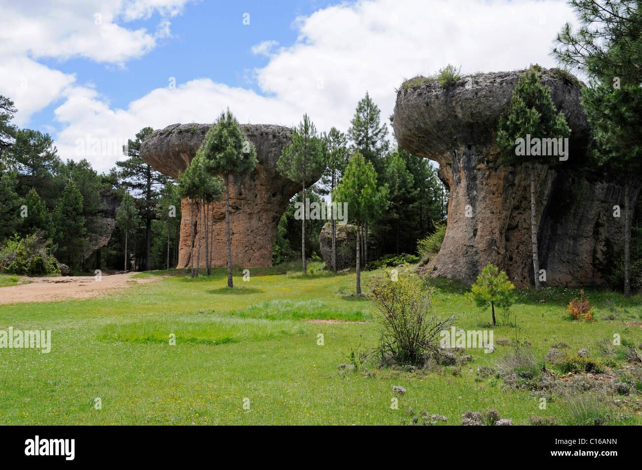 La ciudad encantada, the enchanted city, rock formation, erosion, natural monument, limestone landscape, Cuenca - Stock Image