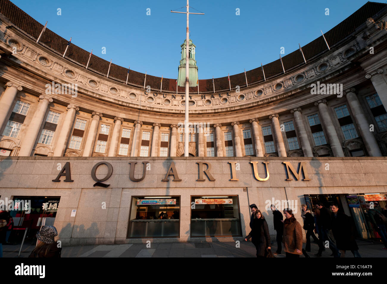 The Aquarium and County Hall at the South Bank in London,England - Stock Image