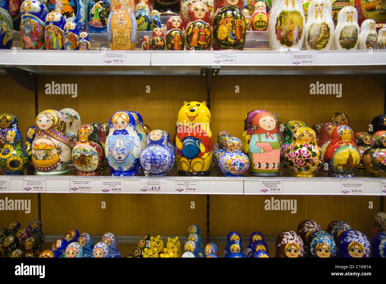 Various types of Matryoshka dolls in a souvenir shop in Moscow, Russia - Stock Image