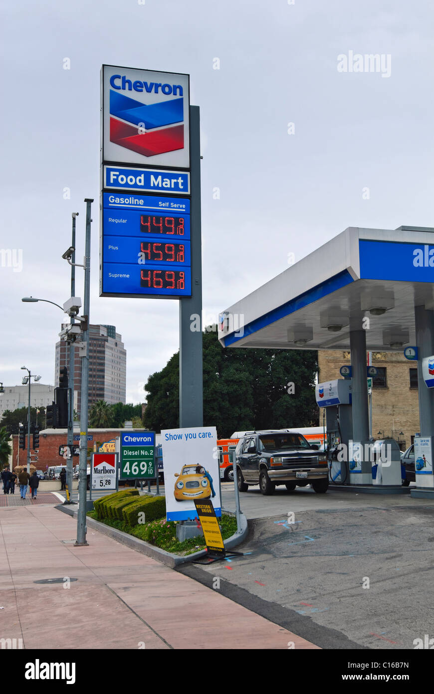 An expensive gas station with prices above 4 dollars per gallon. - Stock Image