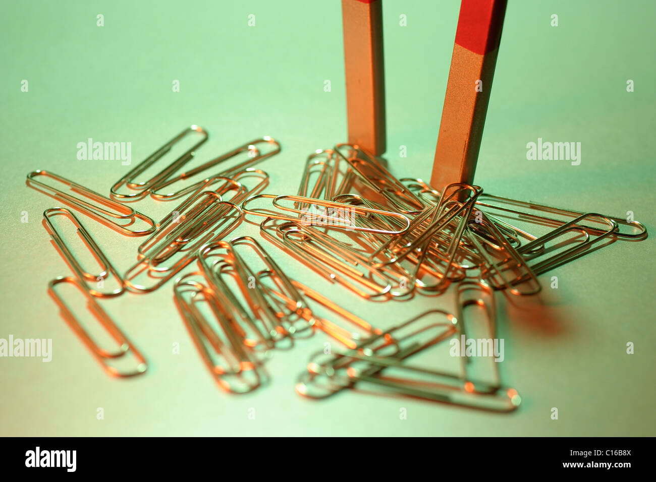 Magnet with paper clips Stock Photo