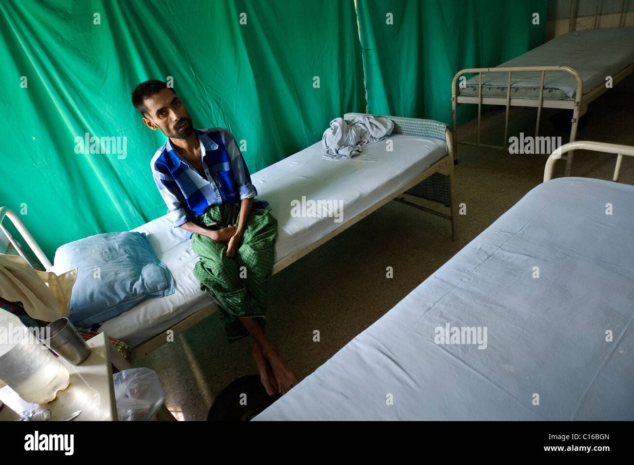 Anwari Mondol, 35, infected with a strain of life-threatening tuberculosis has been admitted in the private hospital - Stock Image