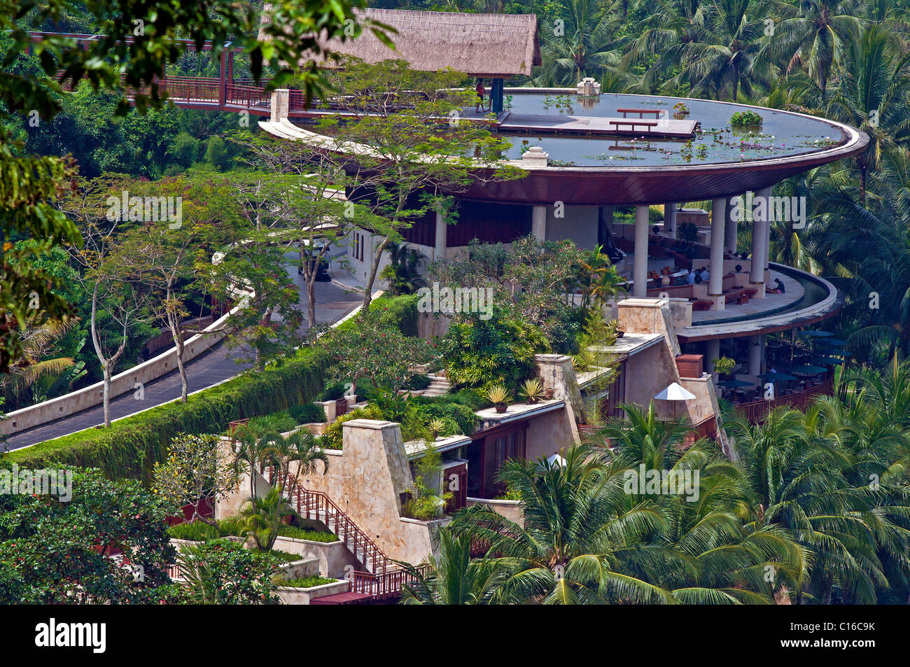The Four Seasons Hotel set amongst the rice paddies at Sayan in Bali Stock Photo