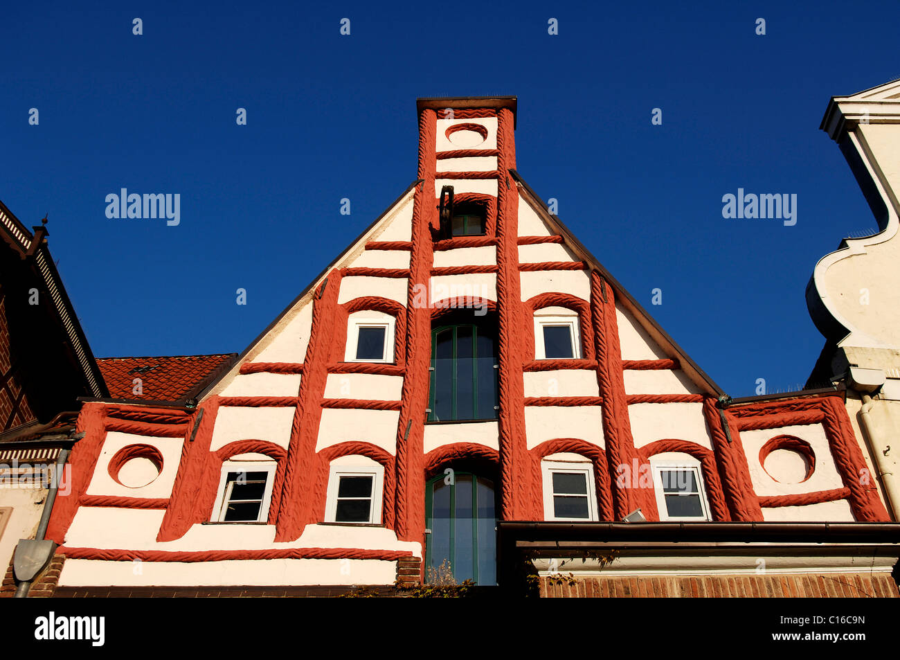 Gothic house gable, Lueneburg, Lower Saxony, Germany, Europe - Stock Image