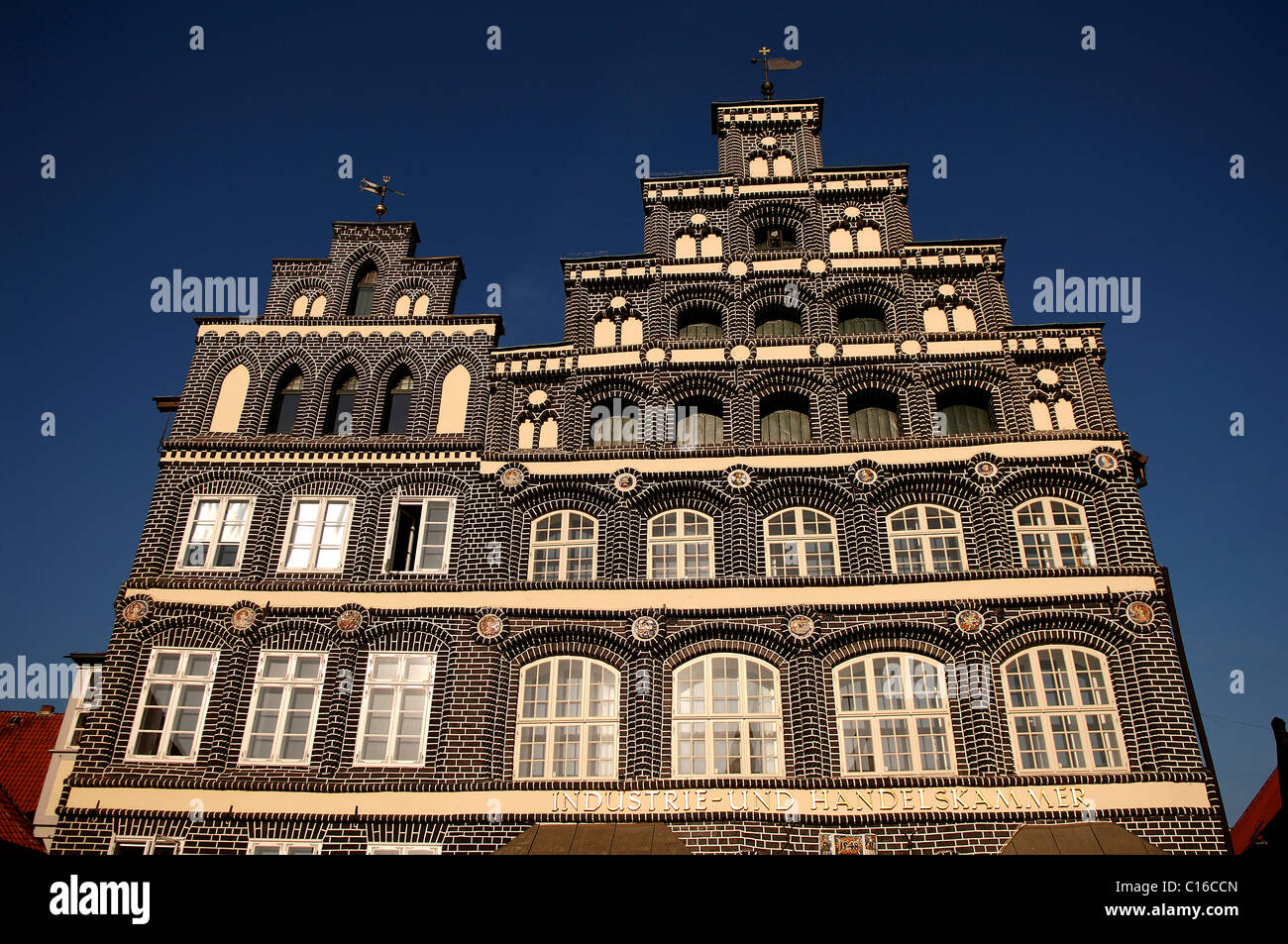 Renaissance facade of the Industire and Chamber of Commerce, in detail, Lueneburg, Lower Saxony, Germany, Europe Stock Photo