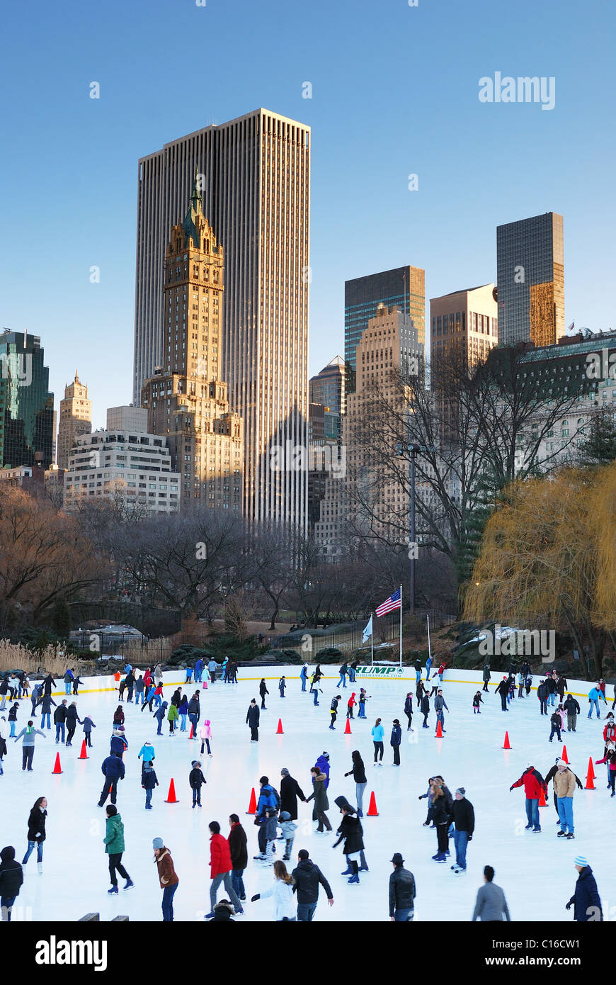 People skate on ice with white Christmas in Central Park welcome the new year of 2010. Manhattan, New York City. Stock Photo