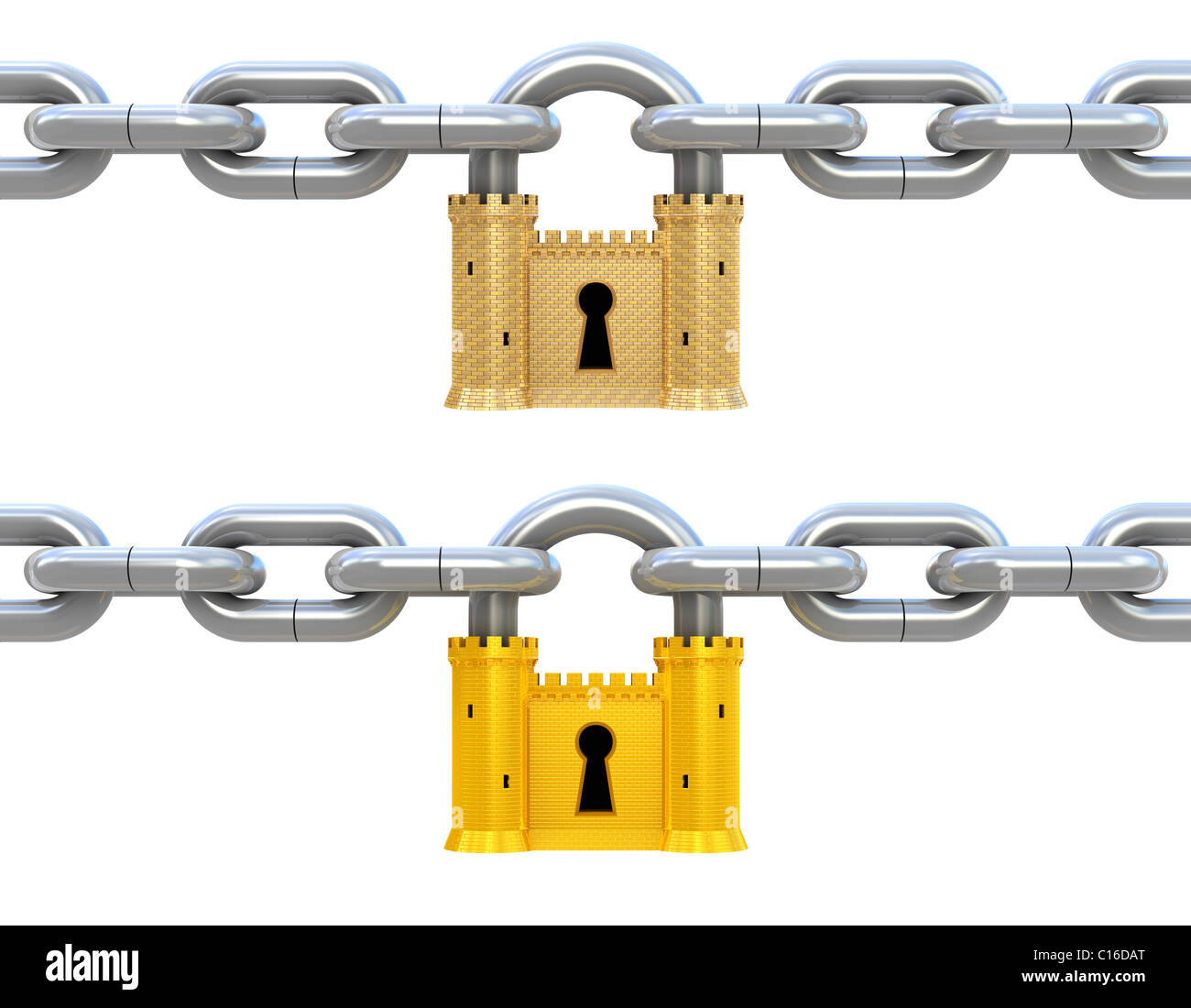 Security concept. Padlock as fortress and chain isolated on white - Stock Image