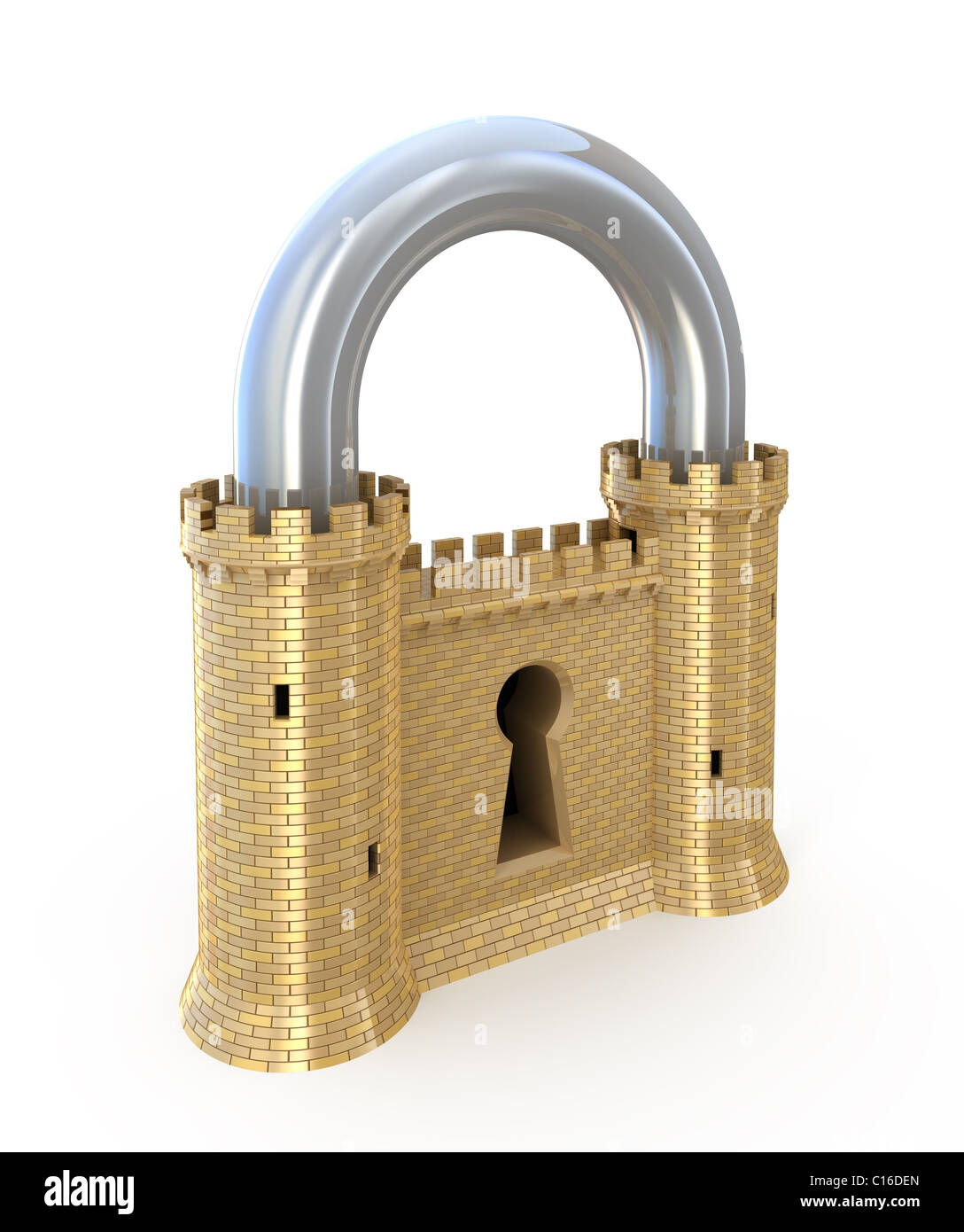 Security concept. Padlock as fortress isolated on white - Stock Image