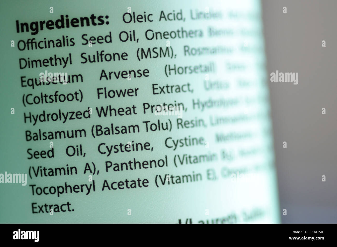 All-natural shampoo ingredient information - Stock Image