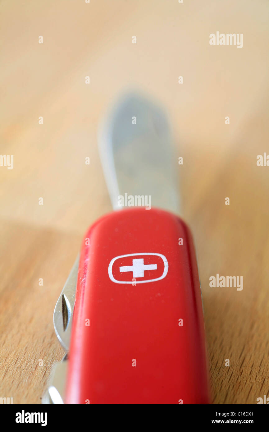 Swiss pocketknife, Swiss Army Knife, with blade - Stock Image