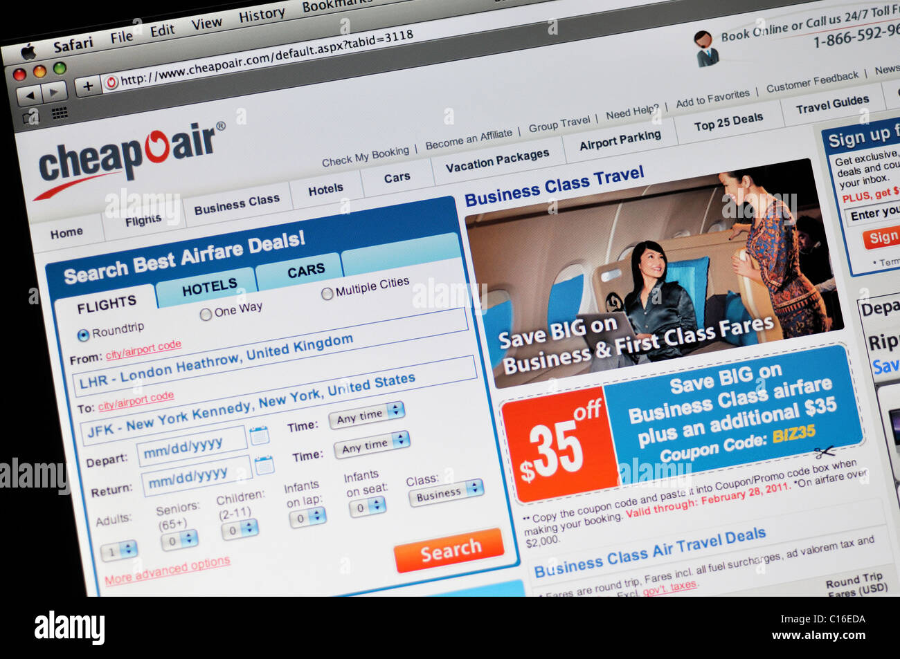 Cheapoair website - cheap airfare and deals - Stock Image