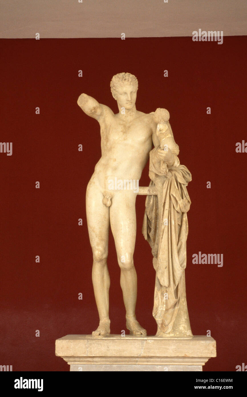 Marble statue of Hermes, Olympia Museum, Peloponnese, Greece, Europe Stock Photo