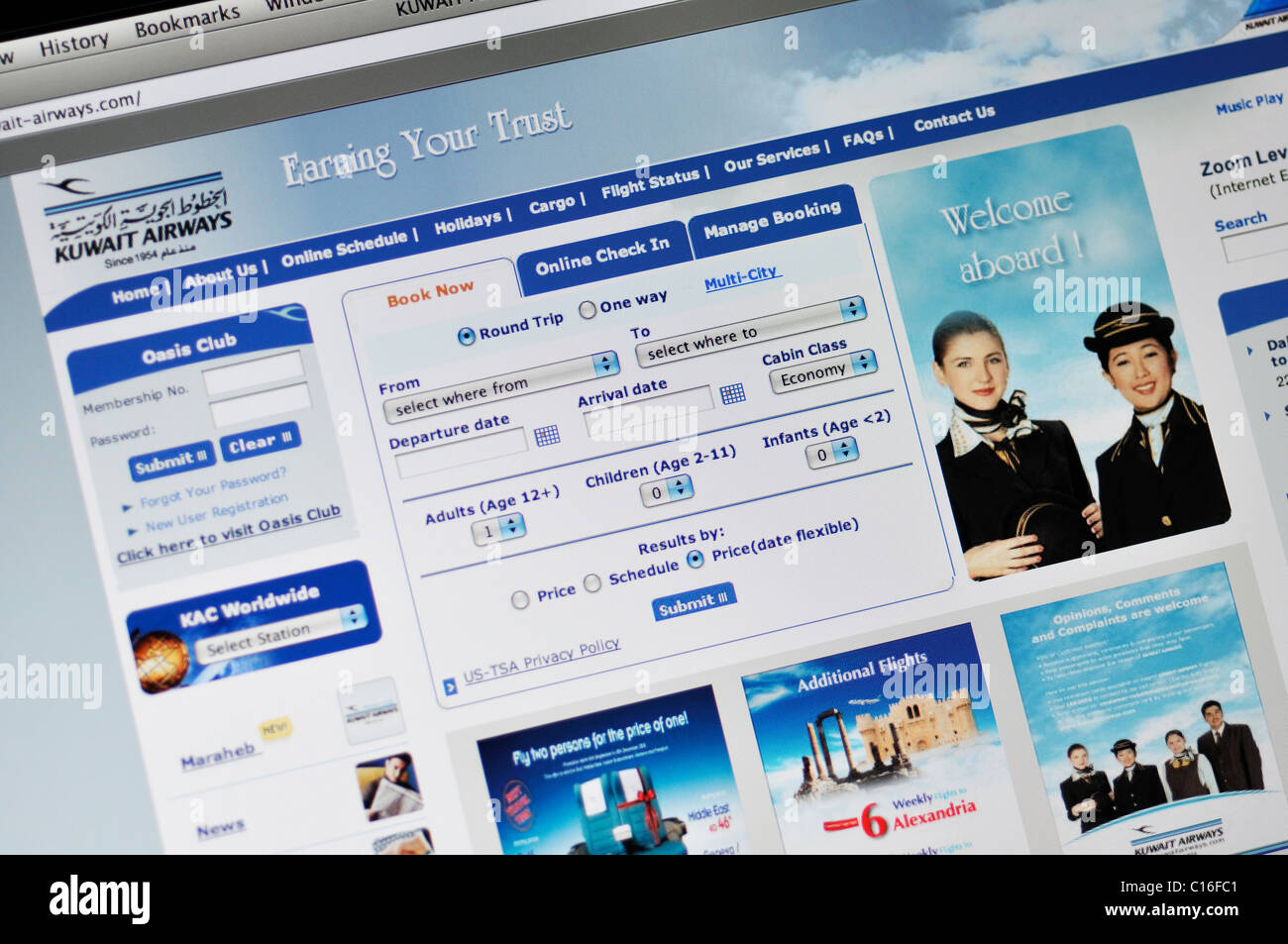 Kuwait Airlines website - Stock Image