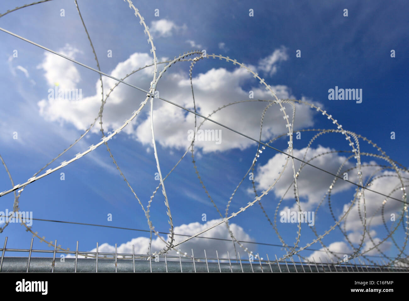 Barbed-wire fence, blue sky - Stock Image
