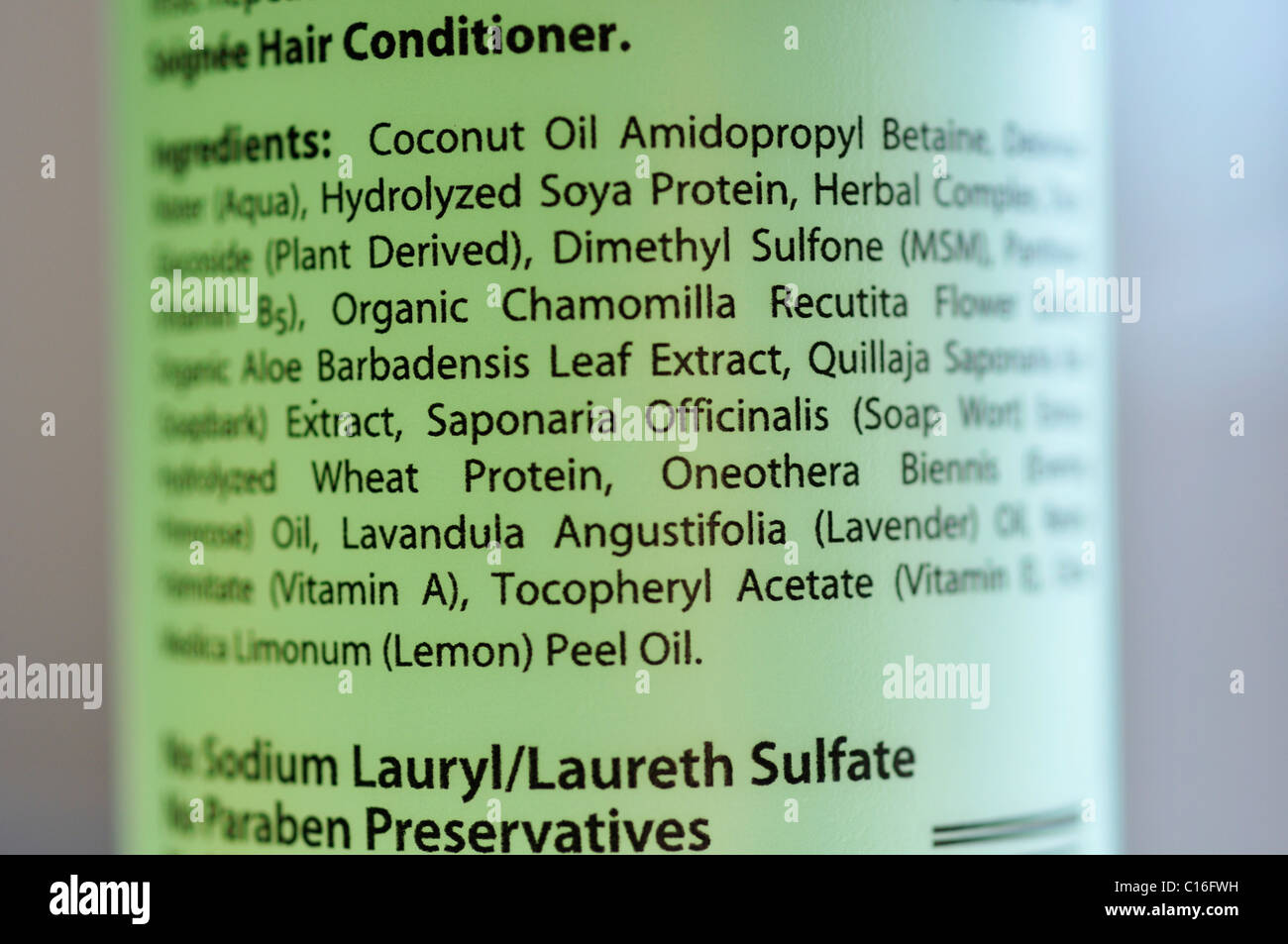 All-natural hair conditioner ingredient information - Stock Image
