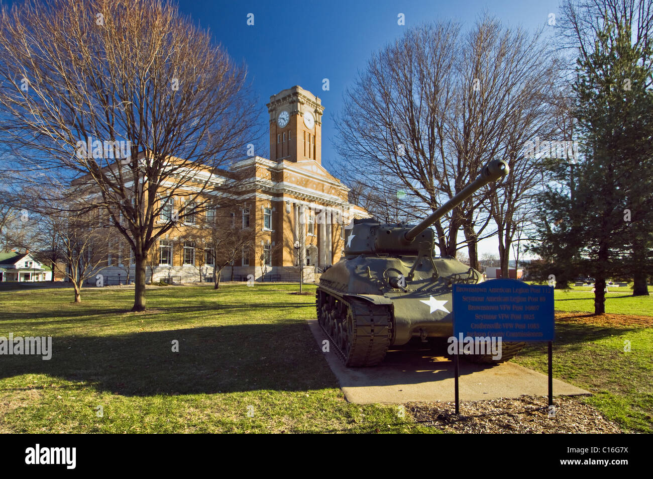 Jackson County Courthouse on the Square in Brownstown, Indiana - Stock Image