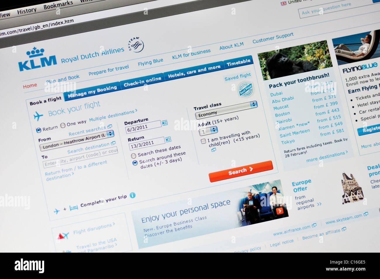 KLM Royal Dutch Airlines website - Stock Image