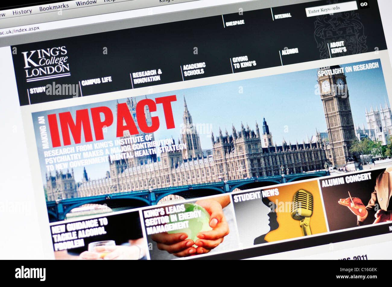 King's College website (London) - Stock Image