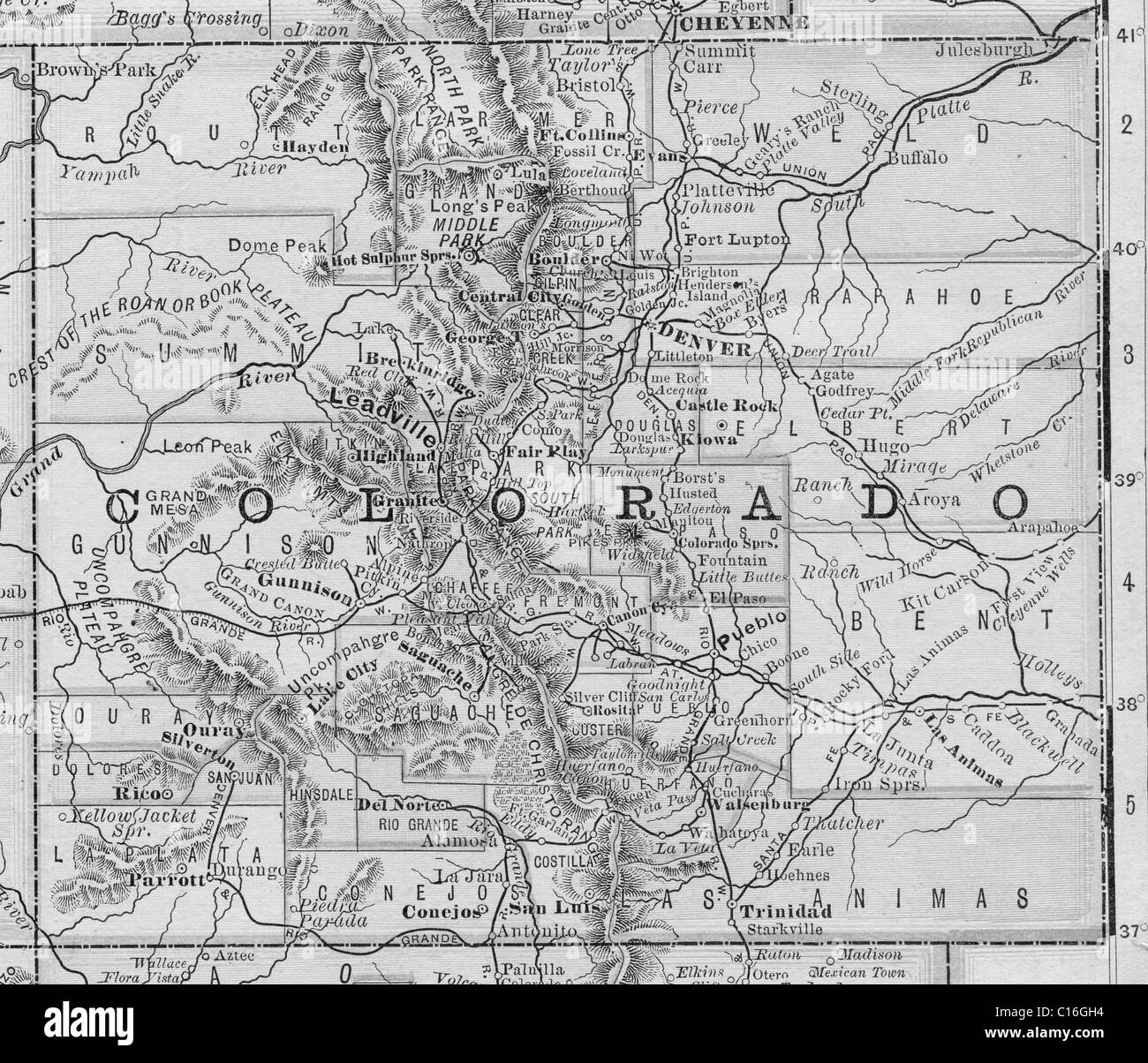 Old Map Of Colorado From Original Geography Textbook 1884 Stock Photo Alamy