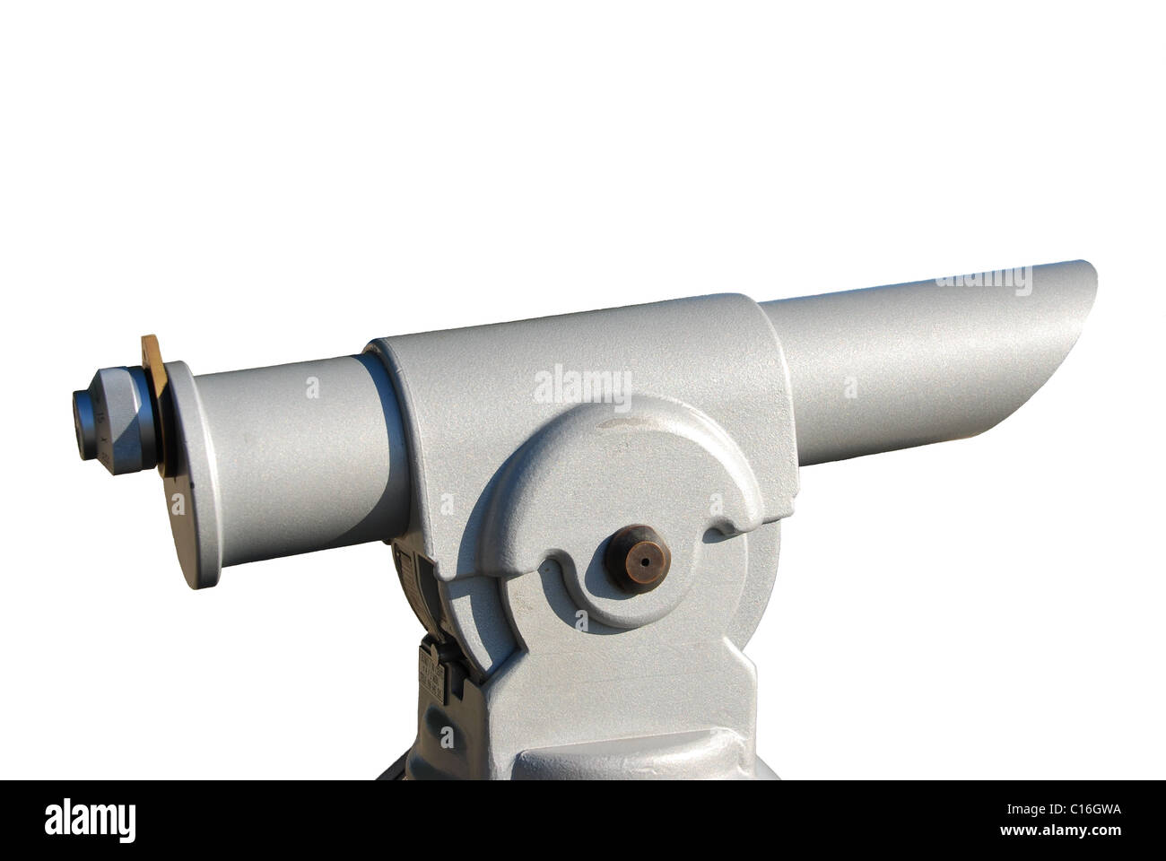 photo of a bright gray coin telescope over white - Stock Image