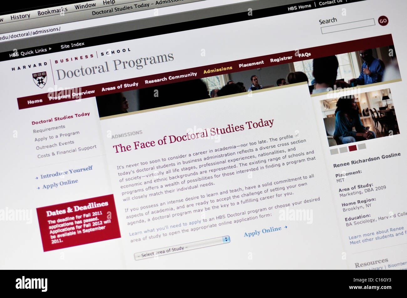Harvard University website - Medical School - Stock Image
