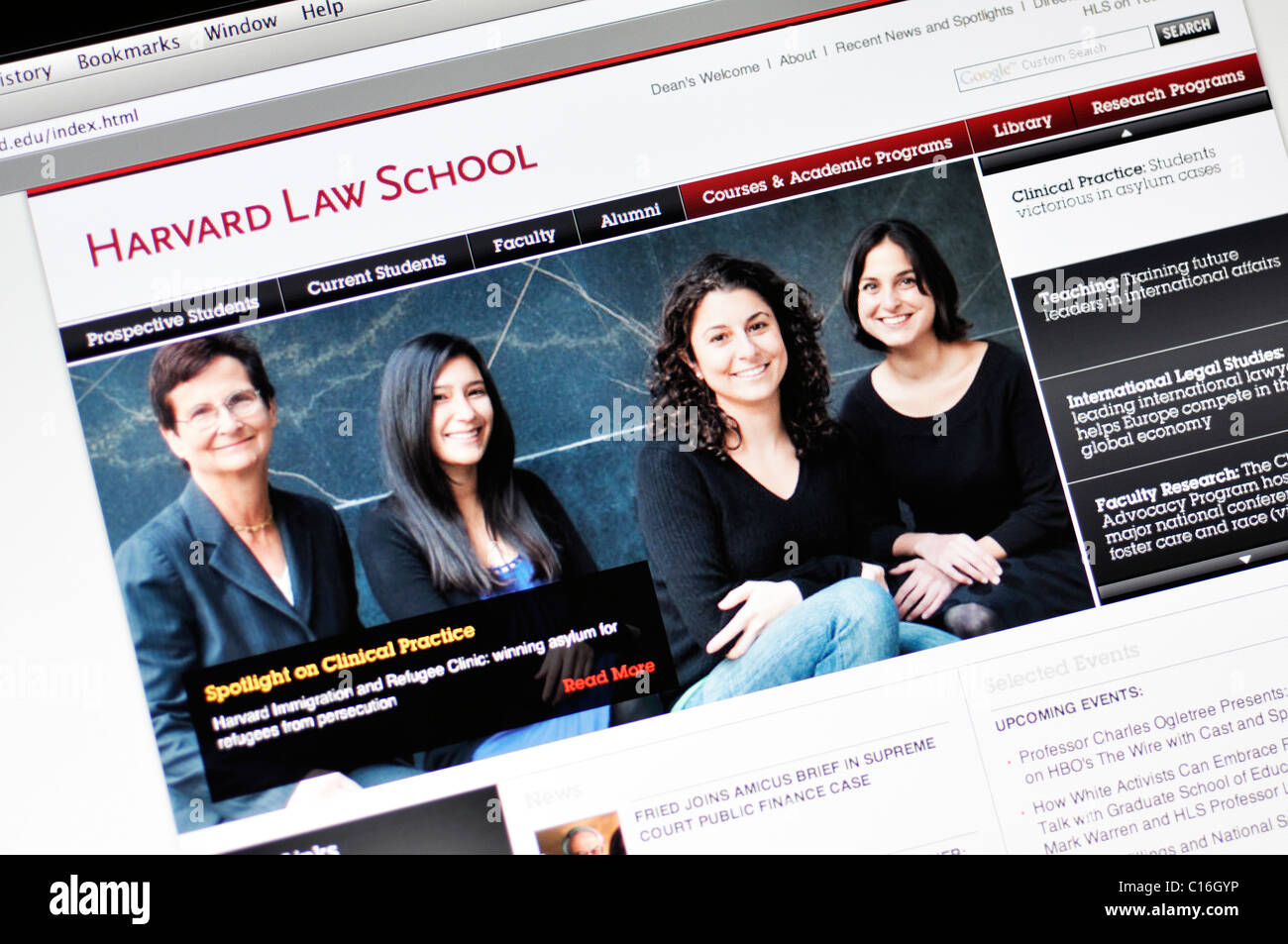 Harvard University website - Law School - Stock Image