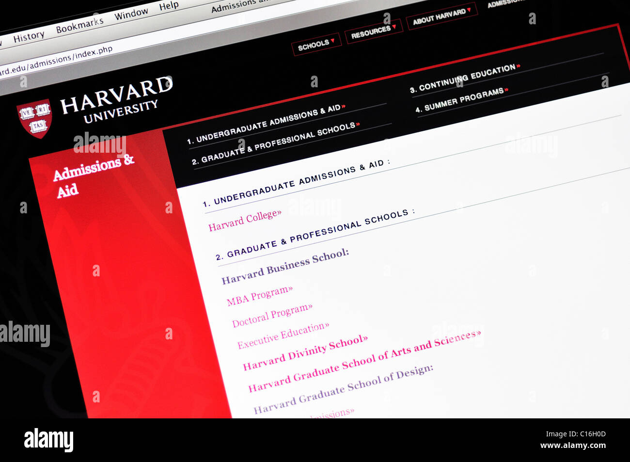 Harvard University website - Stock Image