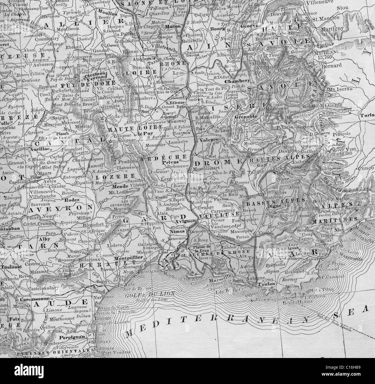 Detailed Map Of Southern France.Old Map Of Southern France From Original Geography Textbook 1884