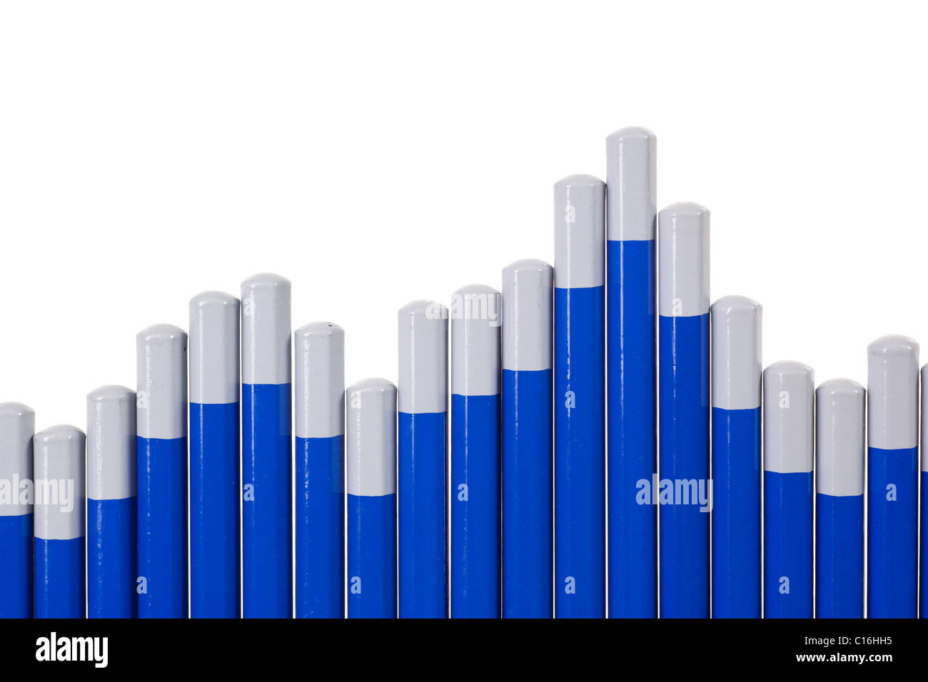 Pencils forming a chart isolated on white background - Stock Image