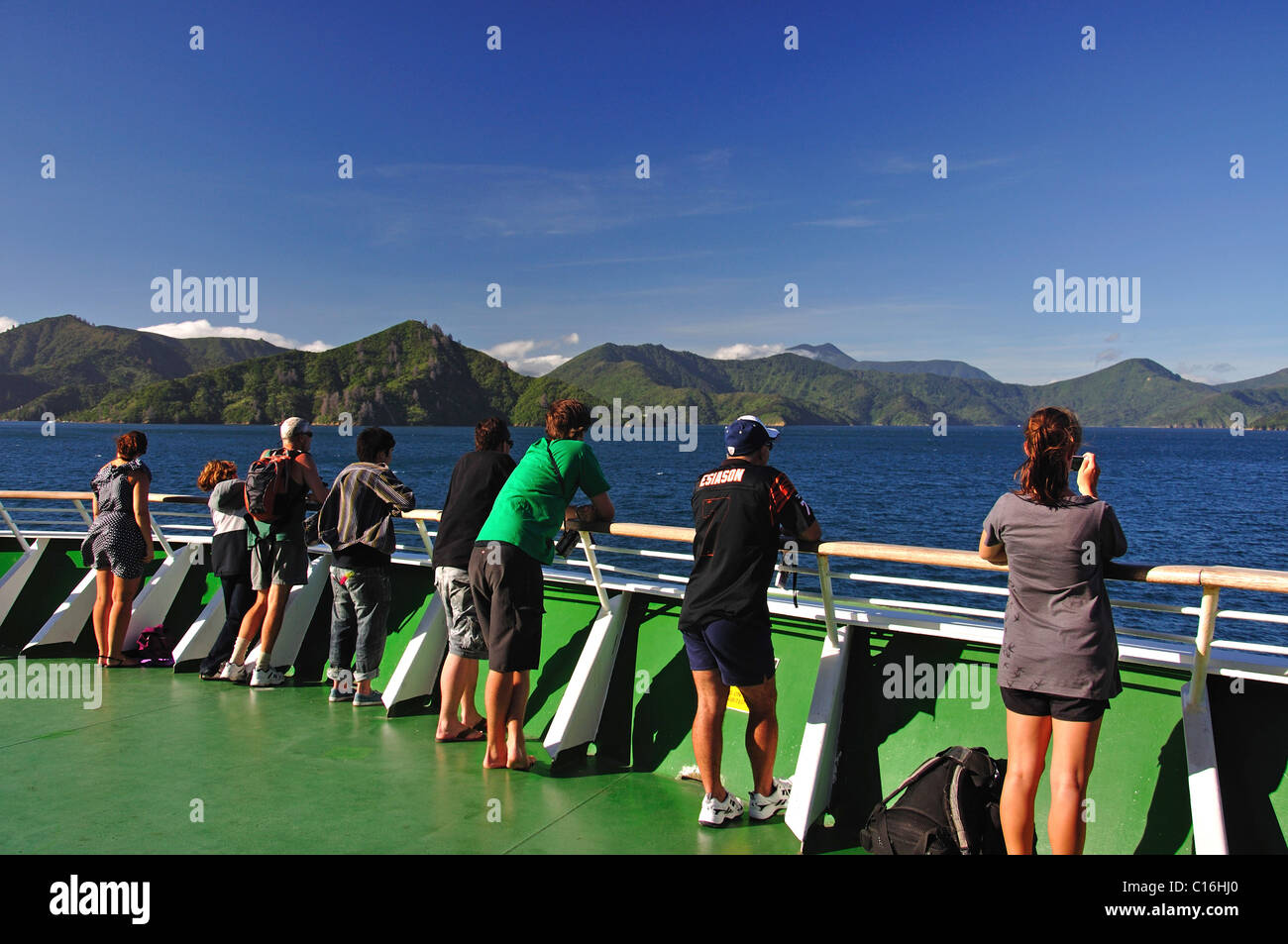 View of Cook Strait & Tory Channel from Inter-Island ferry, Marlborough Sounds, Marlborough District, South - Stock Image