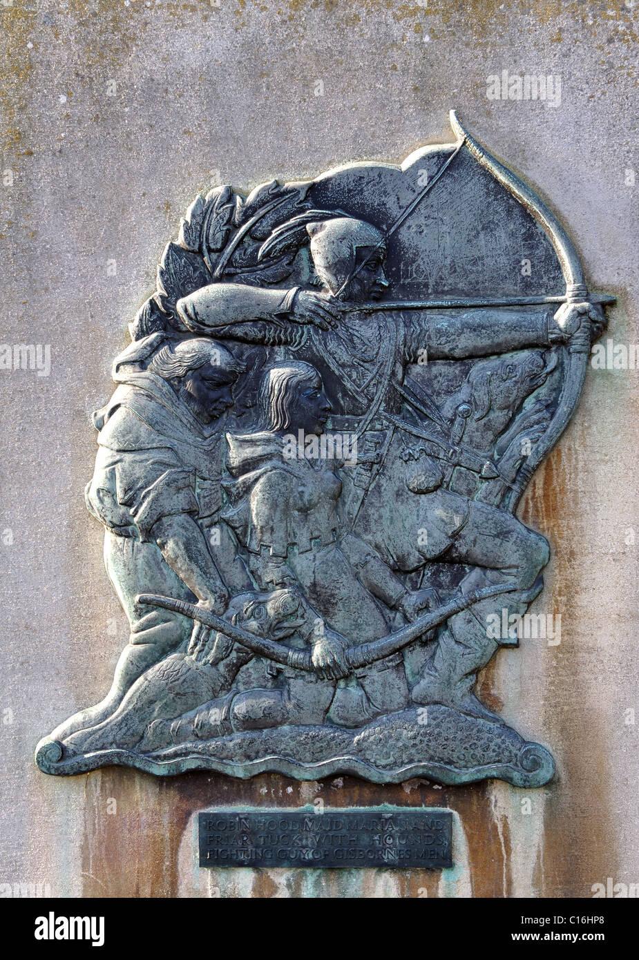 Robin Hood relief near Nottingham Castle - Stock Image