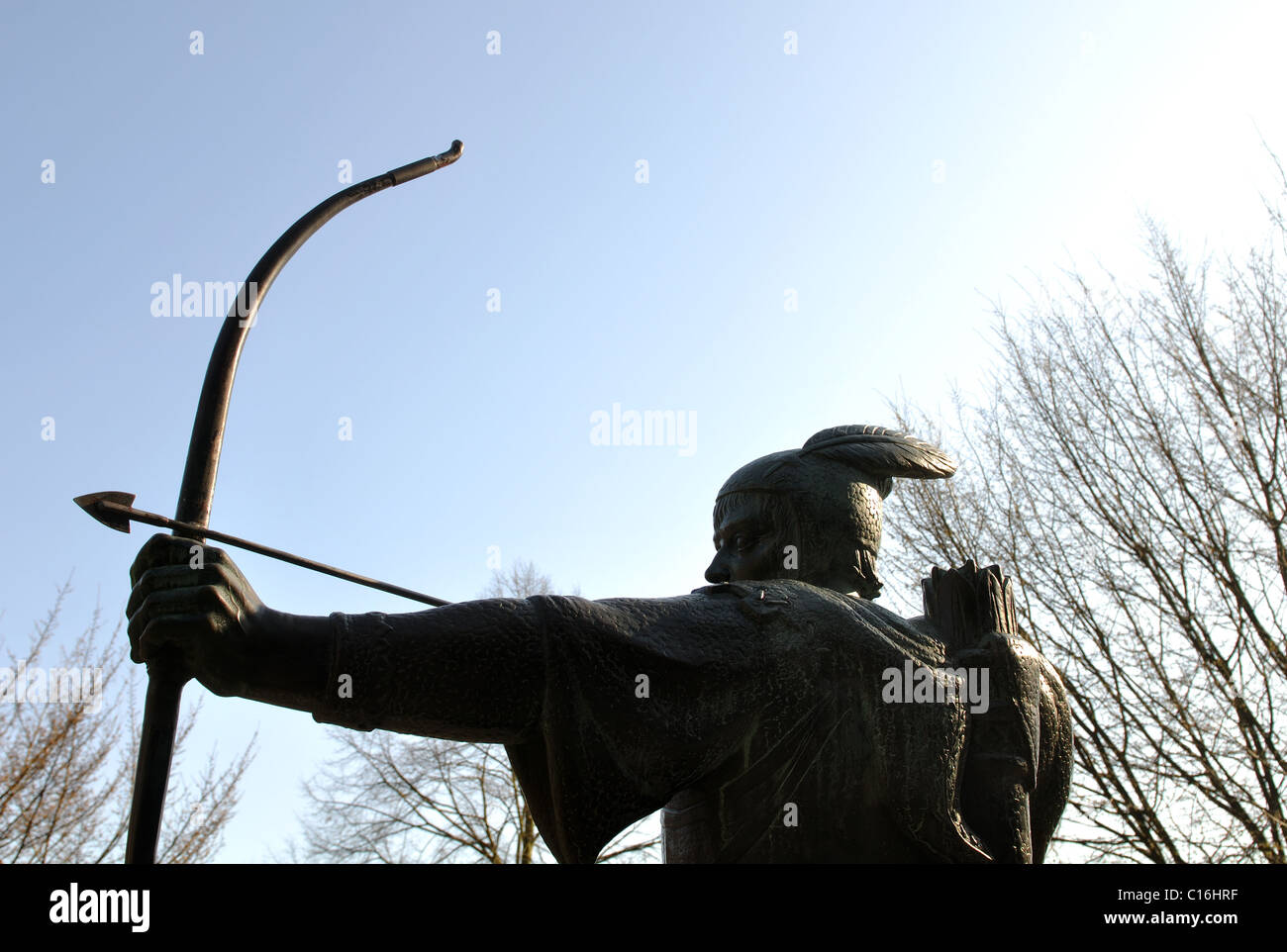 Robin Hood statue near Nottingham Castle - Stock Image