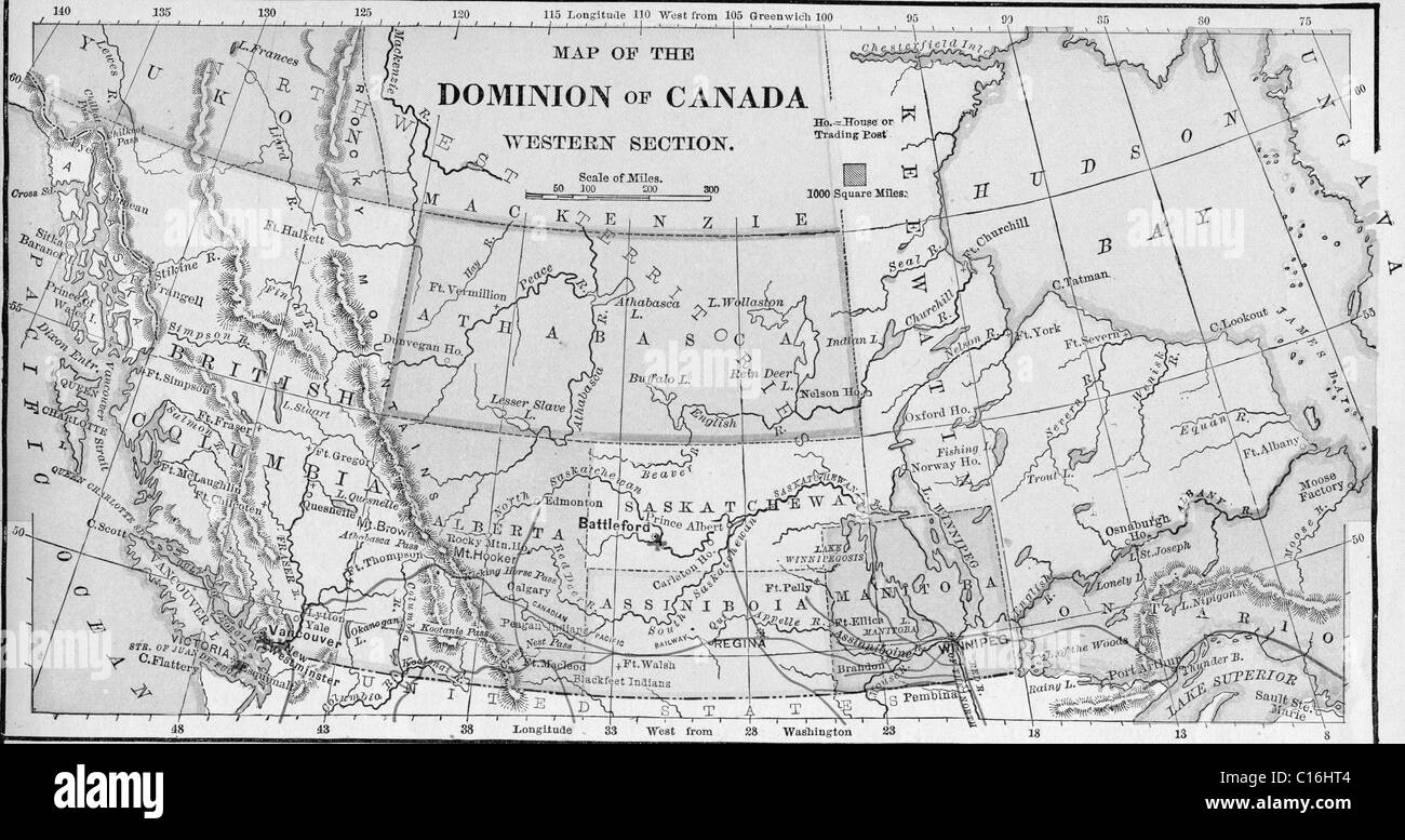 Old map of western Canada from original geography textbook ...
