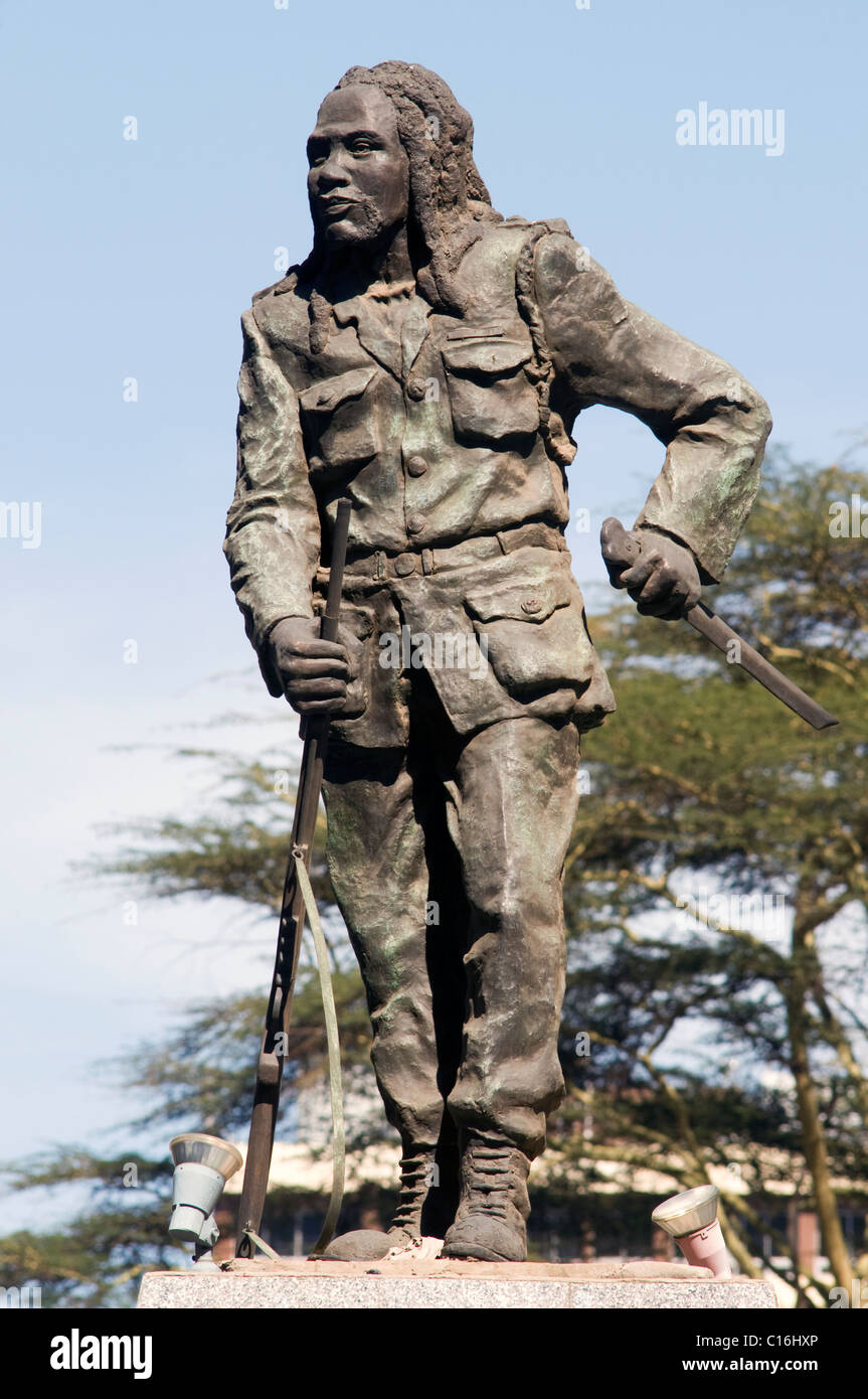 Dedan Kimathi statue, Kimathi Street - Stock Image