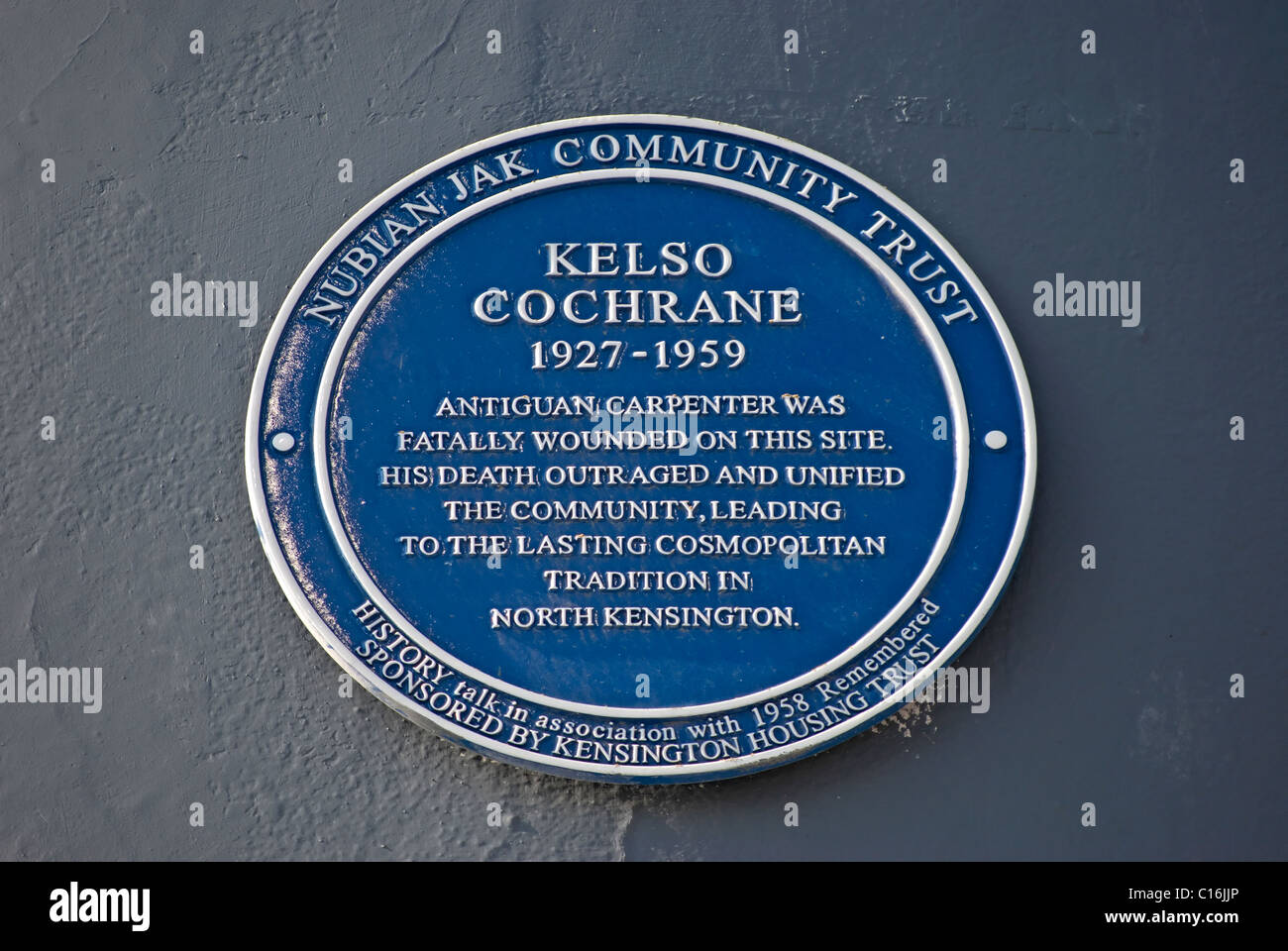 nubian jak community trust plaque at the spot where kelso cochrane was fatally stabbed in a racist attack, in london, - Stock Image