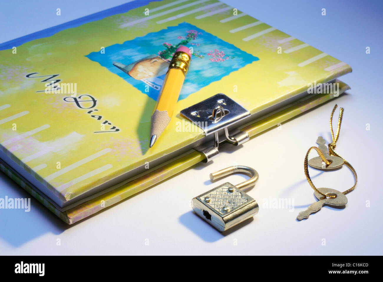 Diary with lock and key Stock Photo