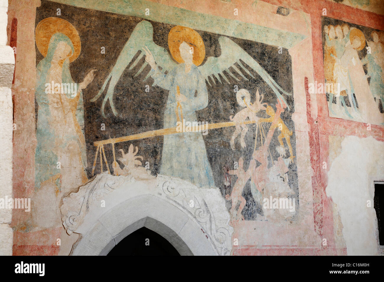 Gothic frescoes from the 15th century in St Michael's church, Heustreu, Rhoen-Grabfeld, Lower Franconia, Bavaria - Stock Image
