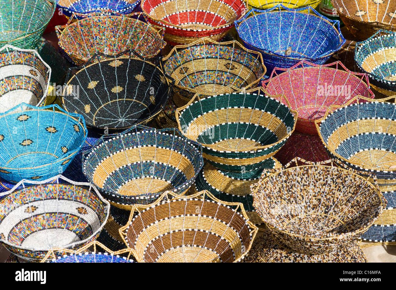 beaded baskets, Maasai Market, city centre - Stock Image