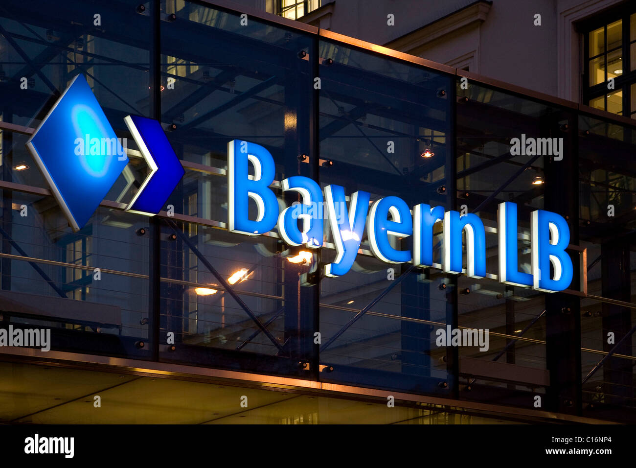 Logo of Bayern LB at headquarters by night in Munich, Bavaria, Germany, Europe - Stock Image