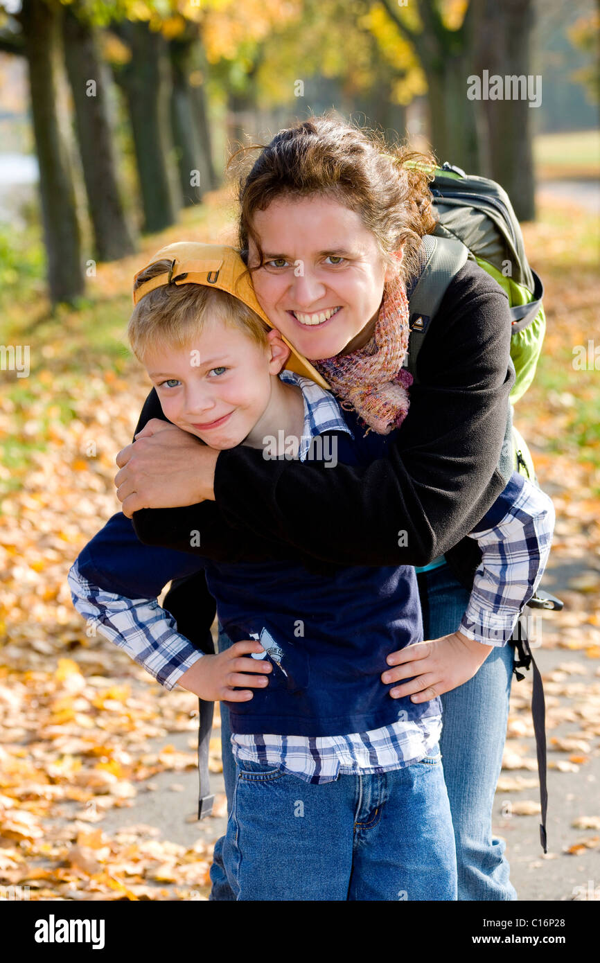 Mother with her six-year-old son - Stock Image