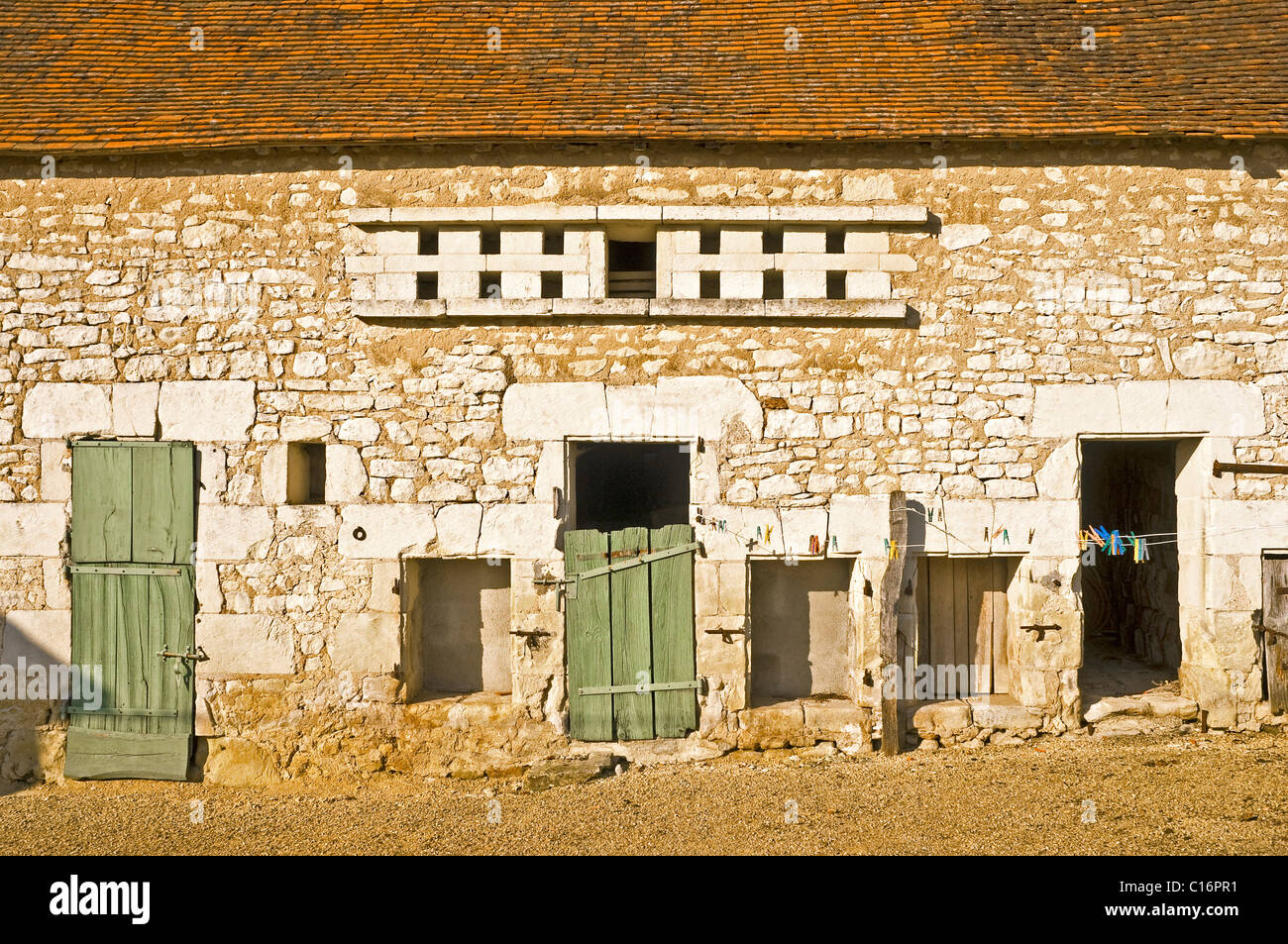 17th century barn, stables and pigeon loft - Indre, France. - Stock Image