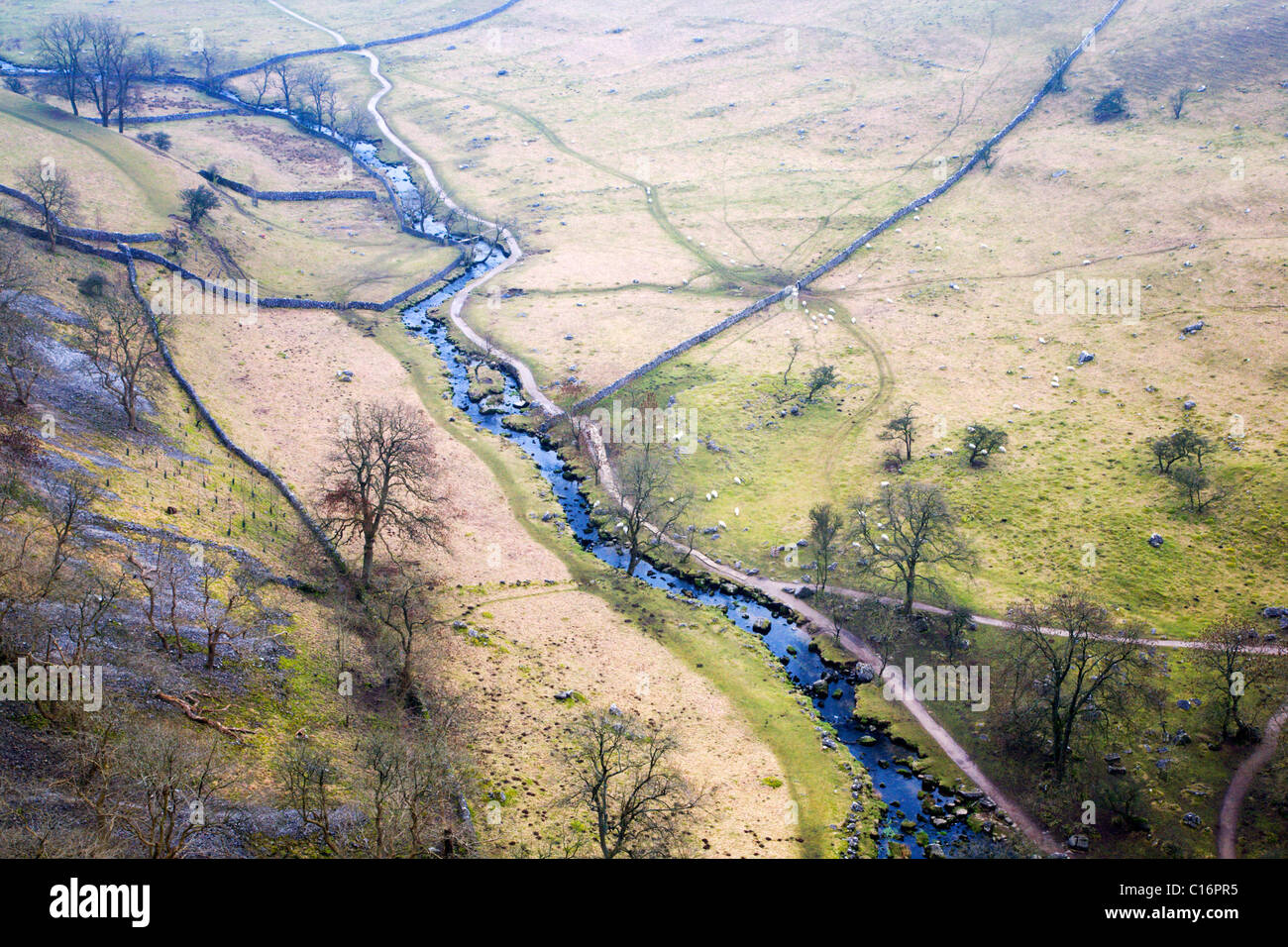 Malhamdale from Malham Cove Yorkshire Dales England - Stock Image
