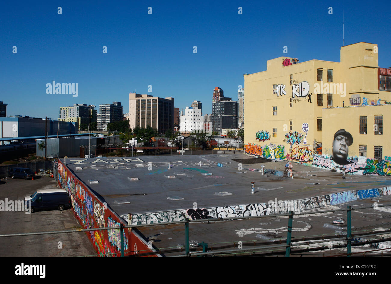 Graffiti on buildings in New York. - Stock Image