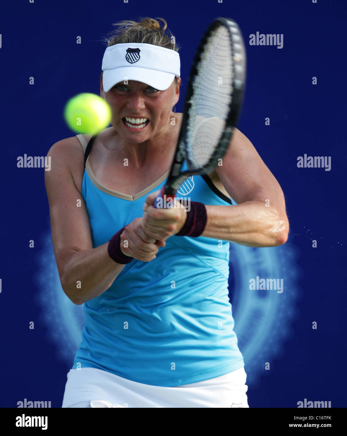 Tennis player  Vera Zvonareva of Russia in action - Stock Image
