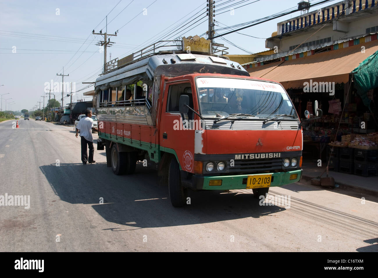 Songthaew - a two row transport in Nakhon Ratchasima. - Stock Image