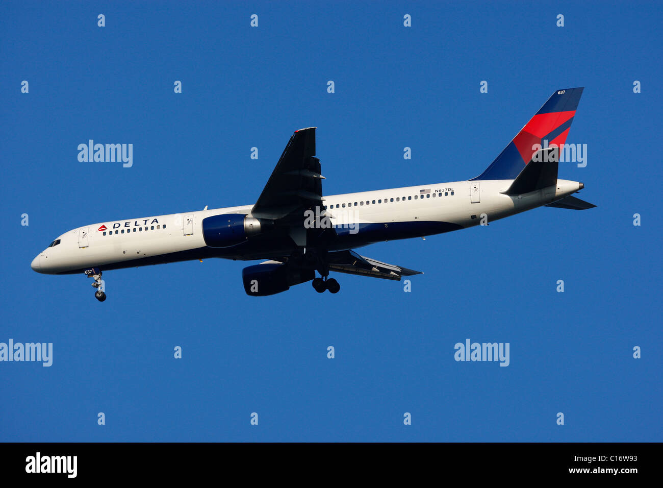 Delta Airlines jet plane in the air - Stock Image
