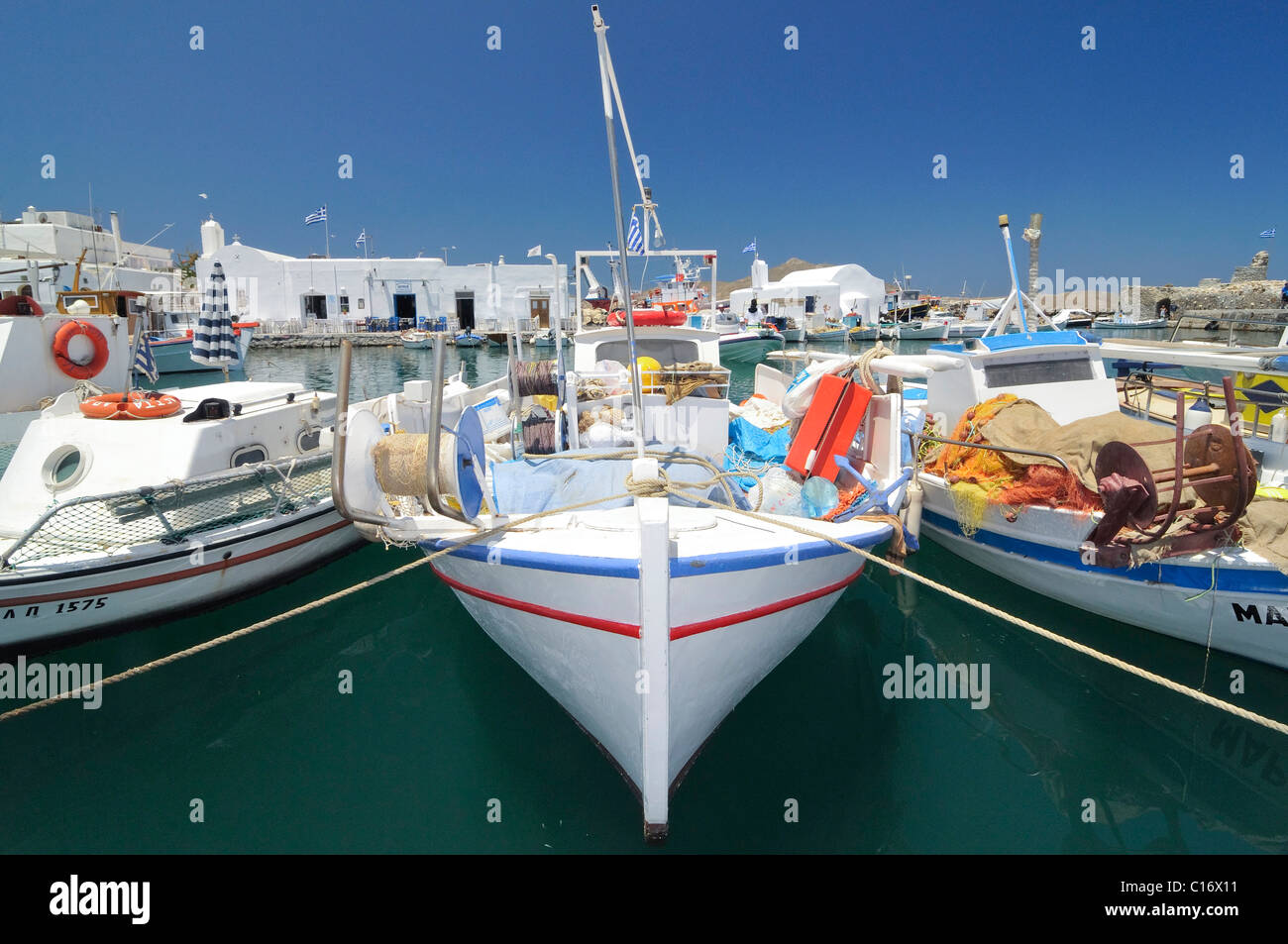 Fishing boats in the port of Naoussa, Paros, Cyclades, Griechenland, Europa Stock Photo